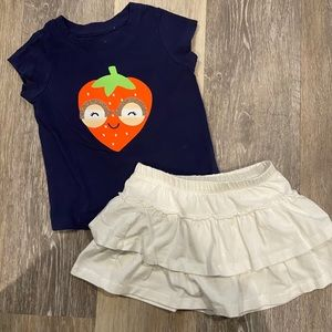 Cute Strawberry Skirt Outfit Size 12-18 months